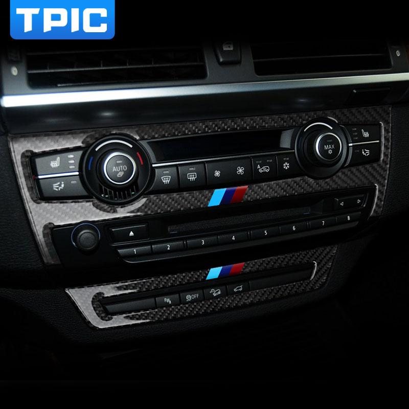 Prix pour Carénage en Fiber De carbone De Voiture Intérieur AC CD Contrôle Décor Cadre changement de vitesse Panneau Décoration Autocollant pour BMW e70 e71 X5 X6 2008-2013