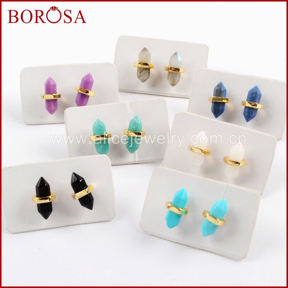 BOROSA 5Pairs Gold Color Multi-kind Natural Stone Faceted Point Stud Earrings Agates Druzy lapis lazuli Earrings Jewelry ZG0348