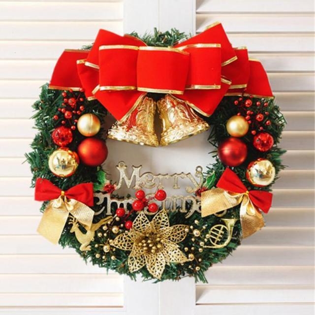 2018 new year christmas decorations door and window decorations christmas wreath luxury merry christmas party graland - New Christmas Decorations