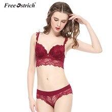 Free Ostrich 2017 Lace Bra Set Plus Size Bra Panty Sets Red Push Up Embroidery Bra Set Black bralette Wholesale Drop Shipping