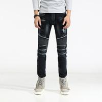 High Quality Jeans Men Classic Jeans Straight Full Length Casual Slim Elastic Skinny Denim Biker Ripped