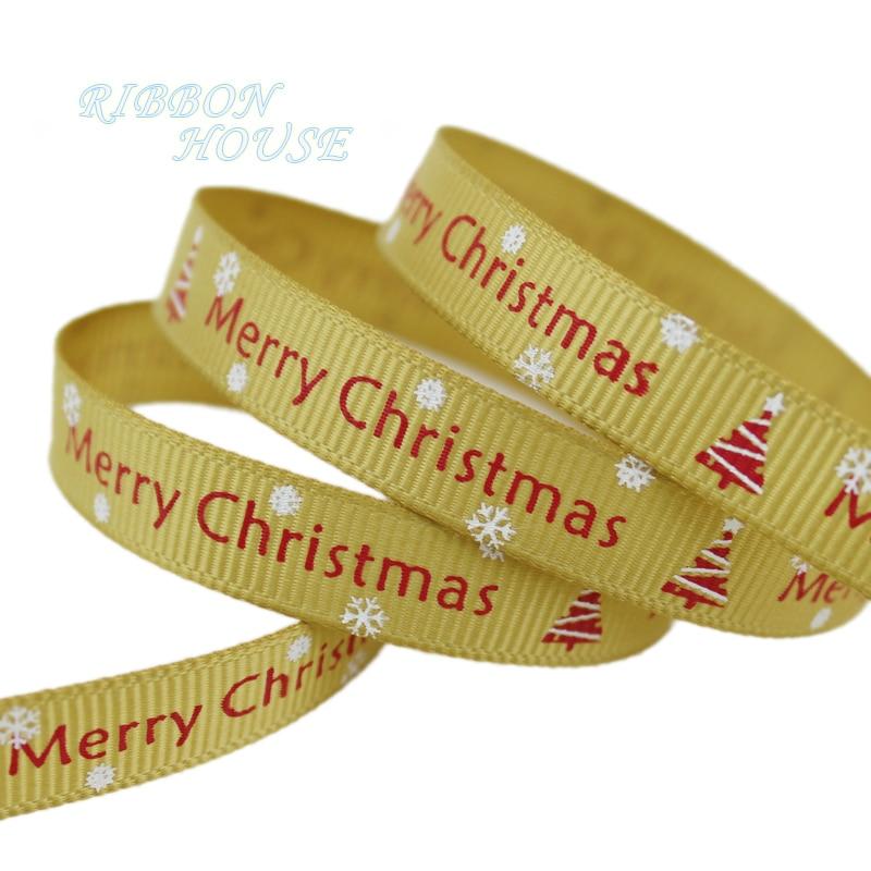 (5 ярдов/партия) 3/8 »(10 мм) золото печатных grosgrain ленты Merry Рождество атласные ленты оптовая продажа