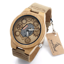 BOBO BIRD 2016 Special Bamboo Wood Watch Miyota Japanese 2035 Movement Outside With Genuine Cow Leather Band Quartz Analog Watch