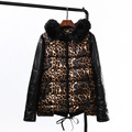 2016 Winter Style Leopard Parkas Women Casual Plus Size 3 4 5 XL Faux Fur Trim Hooded Parkas Coats Outerwear KK1737