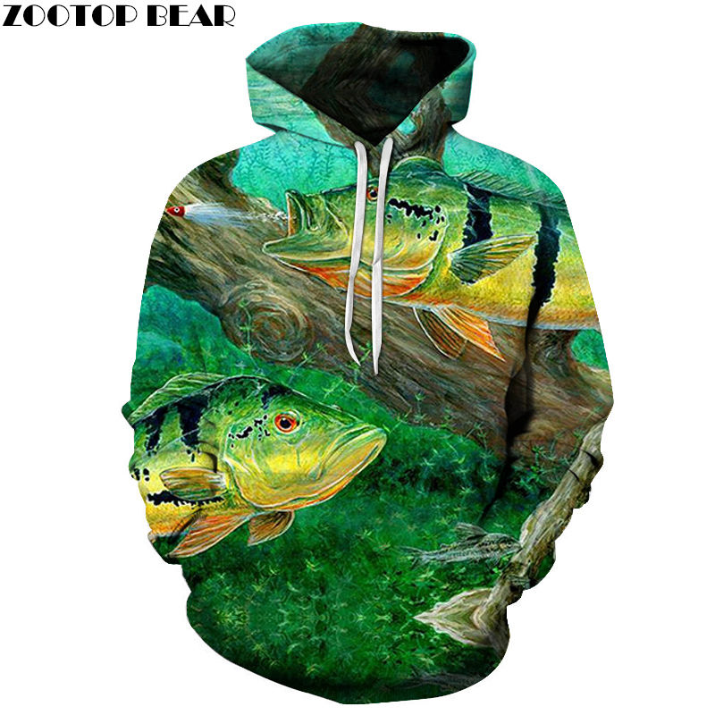 Novelty Tropical Fish Funny Animal Men Sweatshirts Hoodies Sleeves Spring Casual Tracksuits 3D Print Tops Drop Ship ZOOTOP BEAR
