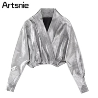 Artsnie Silve Deep V Neck Sexy Loose Short Blouse Women Spring 2018 Casual Crop Tops Shirt