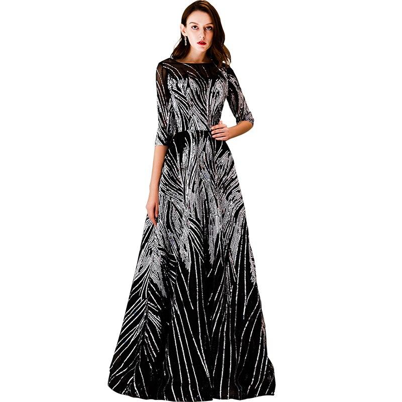 Beauté Emily noir nouvelle dentelle robes de soirée 2019 haute Aline formelle fête robes de bal longueur au sol Court Train robe de soirée