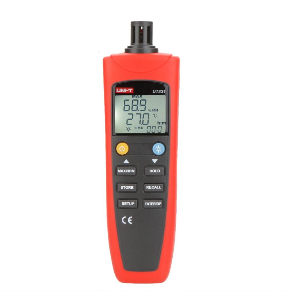 UNI-T UT331 Digital Thermo-hygrometer Thermometer Temperature Humidity Moisture Meter Tester w/LCD Backlight & USB uni t ut330c 3 in1 ip67 portable usb temperature humidity air pressure tester