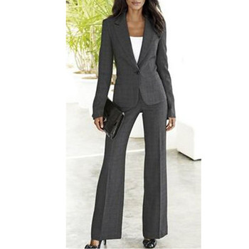 women professional suits Grey Women Ladies Custom Made Business Office Tuxedos Formal Work Wear New Suits