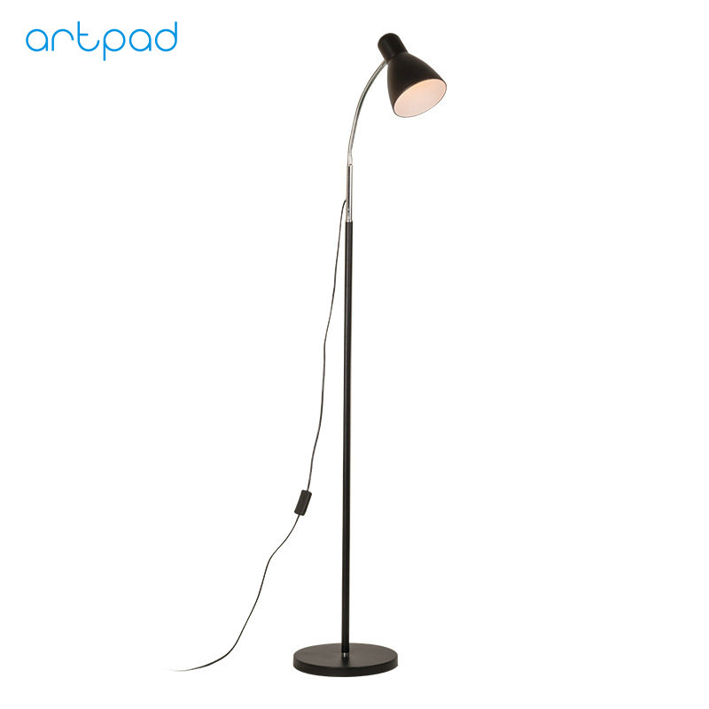 Artpad Black White Modern Floor Lamp Metal Lampshade Night Stand E27 LED Floor Light With Switch and US/EU Plug In AC 110V-220V