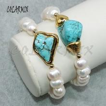 5 peças pérola natural pulseiras frisado pulseiras por atacado jóias pulseiras pedra azul moda jóias para mulher 5010
