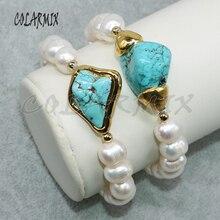 5 pezzi di bracciali di perle naturali in rilievo dei braccialetti dei monili allingrosso dei braccialetti blu di pietra dei monili di modo per le donne 5010