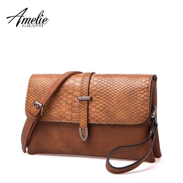 AMELIE GALANTI Luxury Leather Ladies Handbag Stylish Women Crossbody Bag Soft PU Leather Small Envelope Bag Women Shoulder Bag