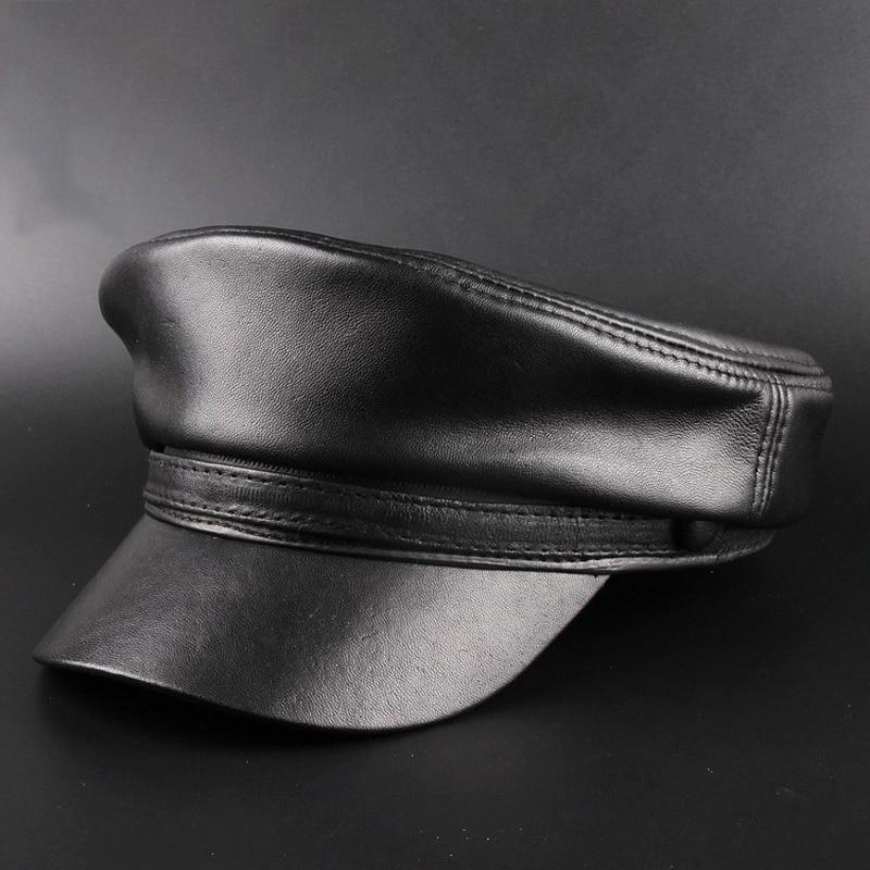 Svadilfari Neue 2018 Frühling Schaffell Hüte 100% Echtes Leder Casual Thermische Männer Military Hut Kurzen Krempe Cadet Erwachsene Kappe Frauen