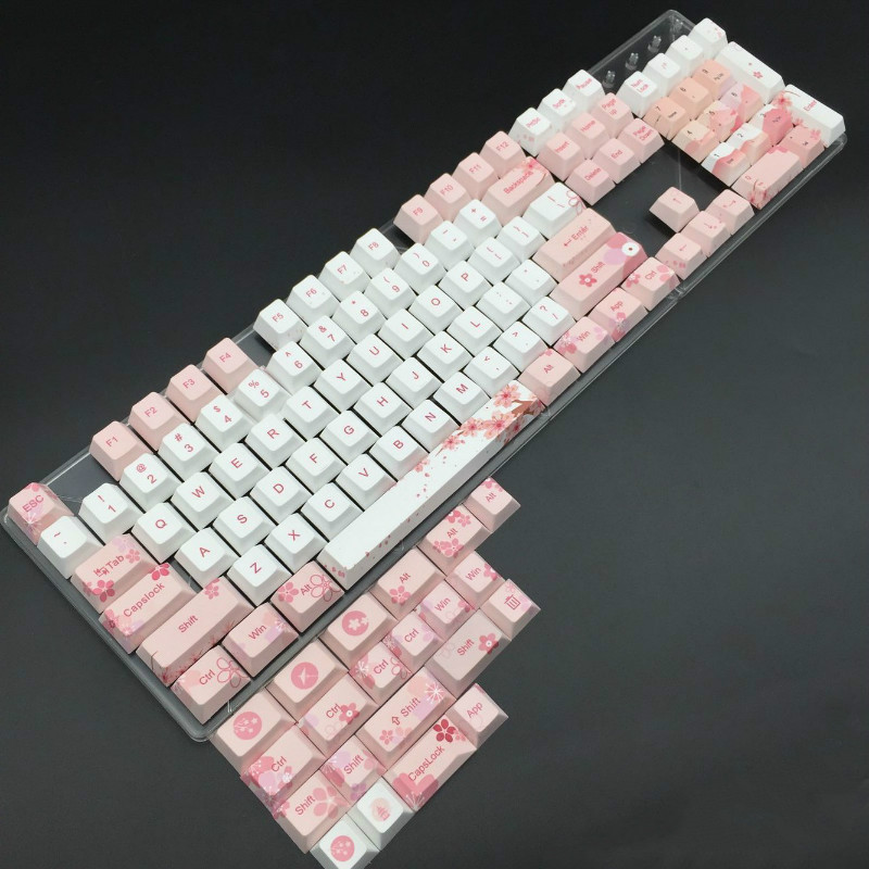 Cherry Blossom Keycaps Set Completo Copritasti Tastiera Meccanica PBT 5 Viso a Sublimazione Keycap Per Tutti I Sakura Keycap SetCherry Blossom Keycaps Set Completo Copritasti Tastiera Meccanica PBT 5 Viso a Sublimazione Keycap Per Tutti I Sakura Keycap Set