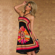 Flower Print Strapless Sexy Dashiki Dress Bohemian Dress Beach Woman Dresses Summer Boho Clohtes(China)