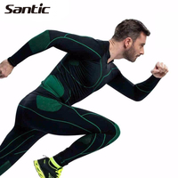 SANTIC Men's Sports Underwear Windproof Thermal Bike Cycling Climbing Running Suits GYM Training Fitness Apparel MN12008