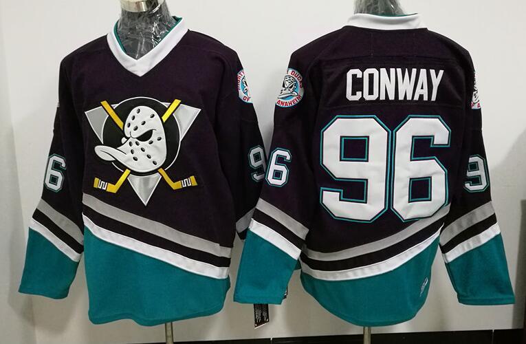 Ediwallen Le Puissant Film Vert 1993 Vintage 96 Charlie Conway Ducks d'anaheim Maillots Hockey Sur Glace Pourpre Vert Blanc Haute Qualité