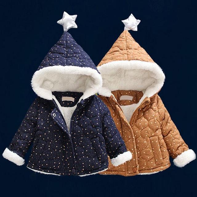 2017 Recién Nacido bebé infantil Chaquetas abrigo grueso abrigo de invierno ropa de bebé niño de terciopelo chaqueta con capucha casual sport prendas de abrigo