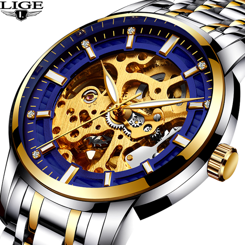 LIGE new Automatic Skeleton Mens Watches Top Brand Luxury Fashion gold Relojes Hombre Clock Mechanical Watches mens Men's clock fashion hk brand top grade luxury automatic clocks high quality genuine leather mens hollow watches relojes hombre marca famosa