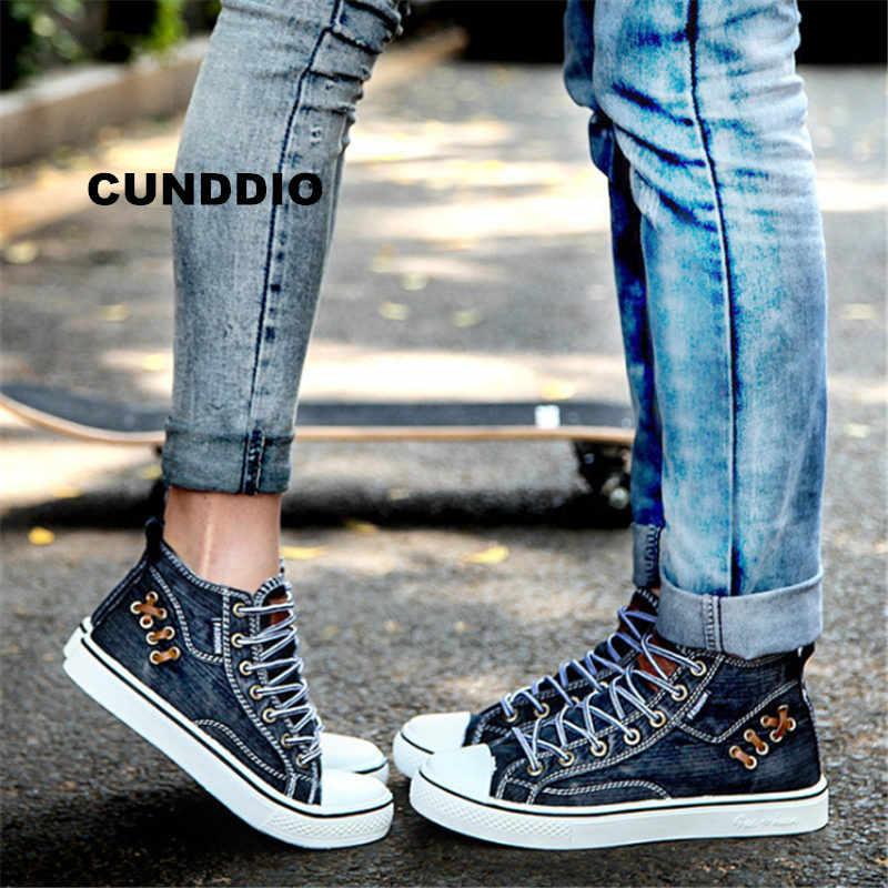 af6ea58e7 Новый Уличный любителей высокого джинсовой ткани кроссовки Для мужчин  парусиновая обувь Для мужчин плоской подошве обувь