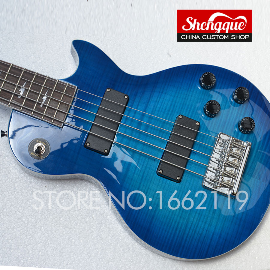 sheng custom new lp bass 5 strings electric guitar top quality blue color tiger flame body. Black Bedroom Furniture Sets. Home Design Ideas