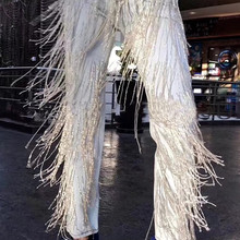 2020 spring Autumn Fashion Handmade Beading Diamonds Tassel Jeans Women straight