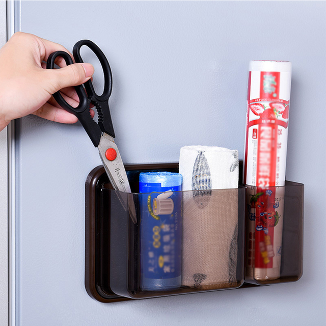 Refrigerator Magnetic Storage Box Plastic Storage Rack Holder Fridge Microwave Oven Organizer Removable Hanger Wall Organizers
