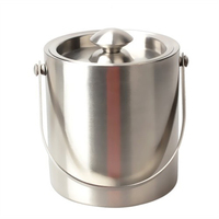Double wall Stainless Steel Ice Bucket Insulated Cube Maker Container Wine Bucket BS
