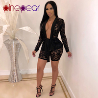 PinePear Lace Two Piece Set 2019 Spring Women Deep V Neck Long Sleeve Belt Cardigan and Bodycon Shorts Outfits Drop Shipping