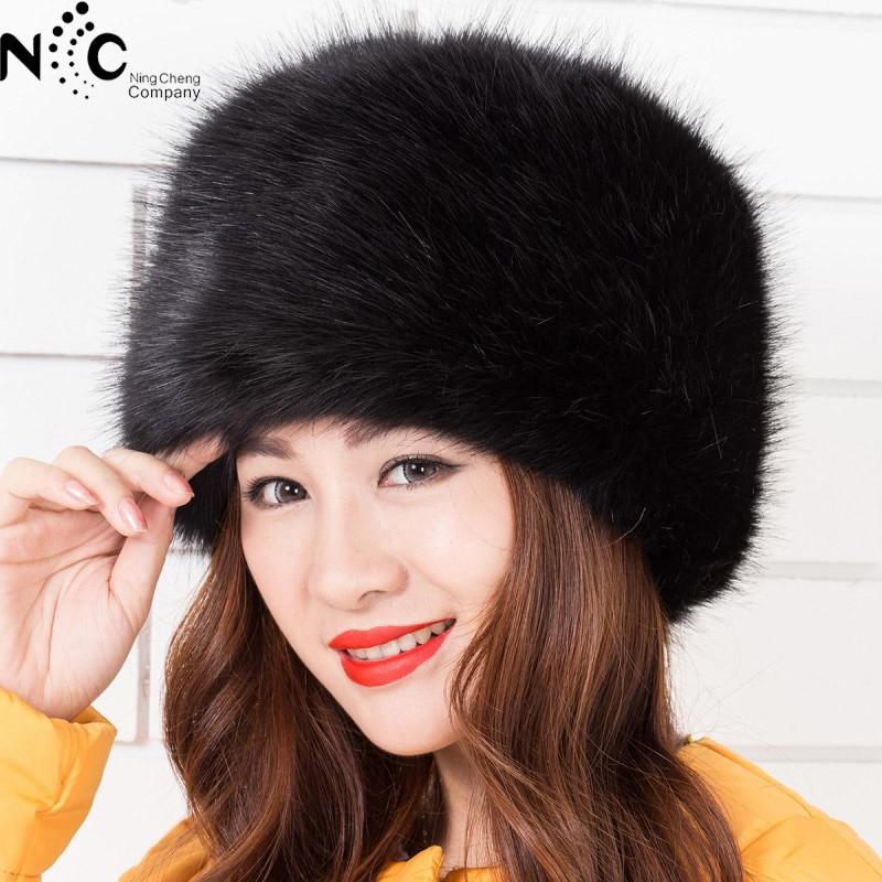 New Arrival imitation fox fur round flat top imitation fur hat thicker autumn and winter plush Russian Mongolian hat warm
