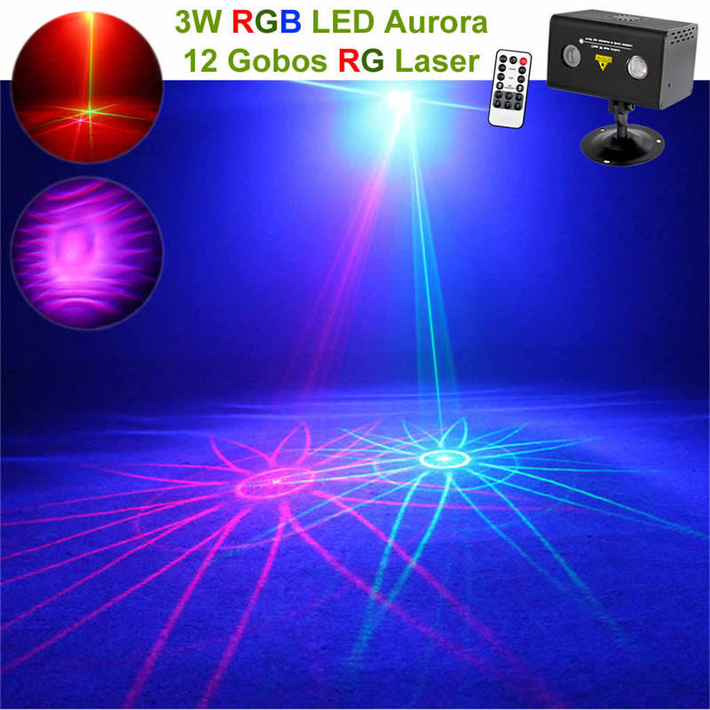 AUCD Mini Remote 12 Pattern Red Green Laser Lighting Water Galaxy RGB LED Projector Mix Aurora Effect Party DJ Home Stage Light 96 pattern 9w black led rgb projector