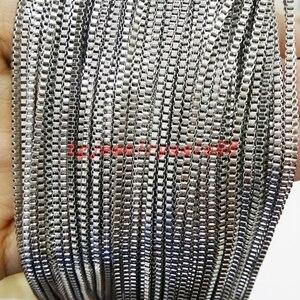 Оптовая продажа, 2 мм в ширину, 316L, нержавеющая сталь, Серебряная цветная коробка, Абердин, в поисках, сделай сам, ожерелье, цепь, 5/10 м в длину, Б...
