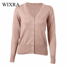 Wixra Warm and Charm 23 Colors Autumn New Sweaters Women Cardigan Knitted Sweater Coat Long Sleeve Female V-Neck Women Tops