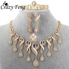Vintage Gold-color Jewelry For Women Zircon Crystal Statement Necklace+ Charm Bracelet+ Earring+ Ring Wedding Bridal Jewelry Set(China)