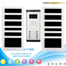 7 Inch Color LCD Wired Video Door Phone Intercom with Night Vision and Rainproof Design,Hands-free DoorBell 1 Camera 12 Monitor