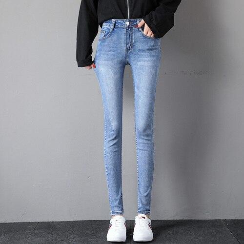 High-Waist Jeans Plus-Size Pencil-Pants Stretch Denim Skinny Female Women New Washed