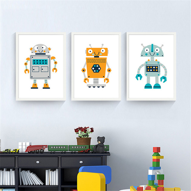 Nursery Kids Room Cartoon robot Painting quality Home Decor Art Decor living posters canvas painting No Frame E147