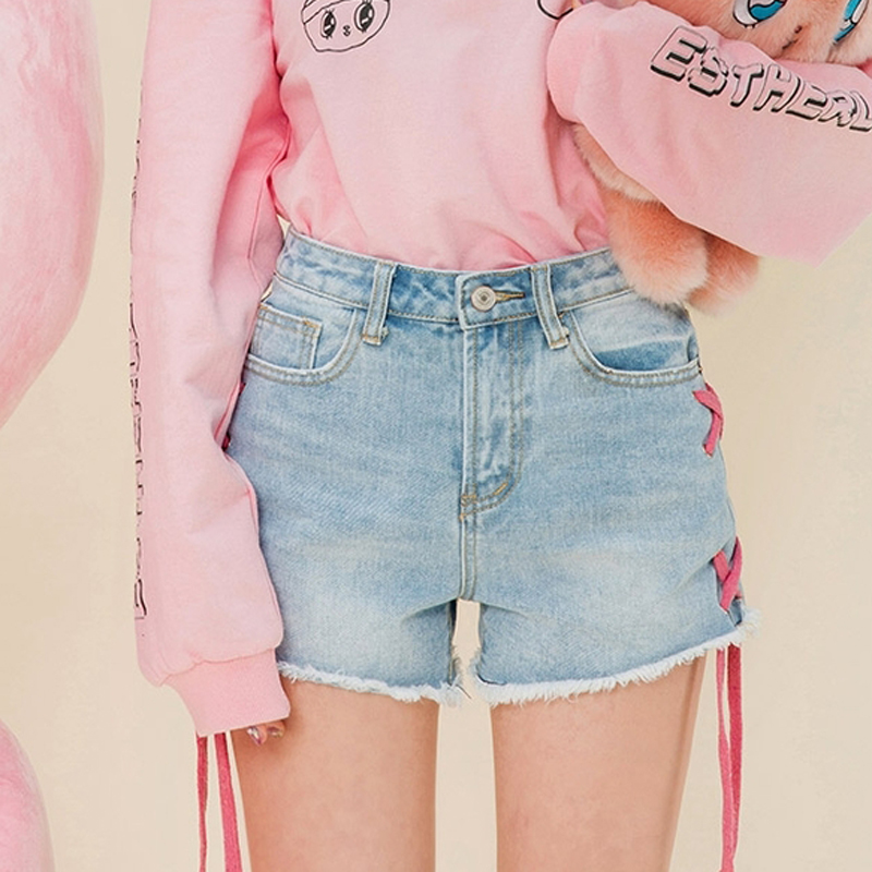 2017 Summer New Fashion Women Jean Shorts Tassel Ripped Lace Up Mid Waist Light Blue Bleached Washed Ladies Denim Shorts слинг шарф fil39 up s m blue jean джинсовый fil39 up на