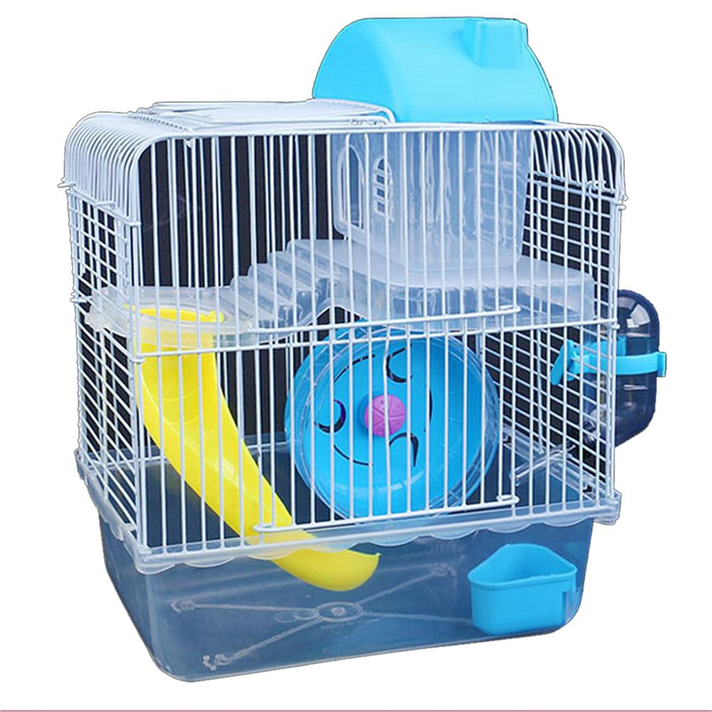 Double Layer Villa Shape Iron Wire Cage With Feeding Bowl Running Wheel Slide Toy For Pet Hamster 23 * 17 * 28 Cm