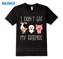 Button Down Shirts  Printed O-Neck Short Sleeve Mens Fitted Premium I DonT Eat My Friends Tee