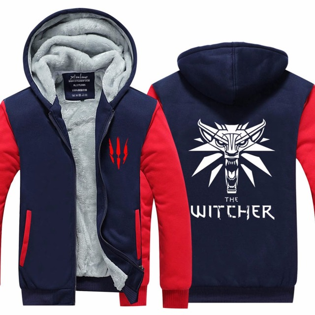 2016 Mens Hoodie winter The Witcher 3 Thicken Fleece Iron Wolf US EU Plus Size