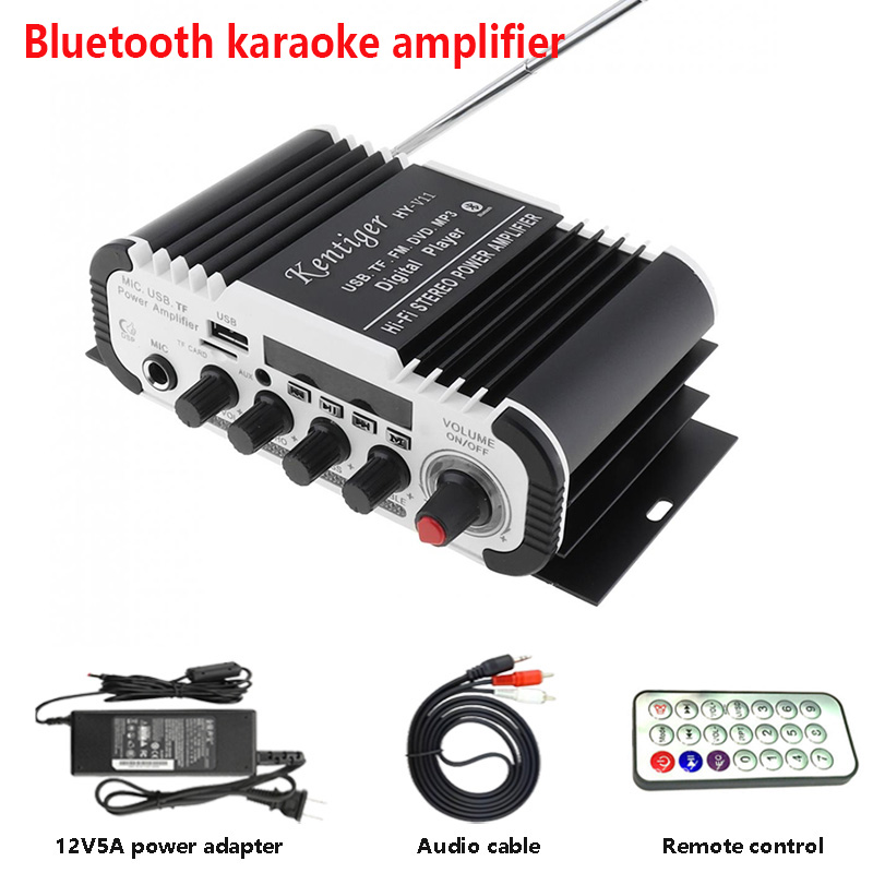 цена на Kentiger HY-V11 With 12V5A Power And AV Cable Bluetooth Amplifier USB TF FM AUX dac 6.5mm Mic Karaoke Speaker Amplificador