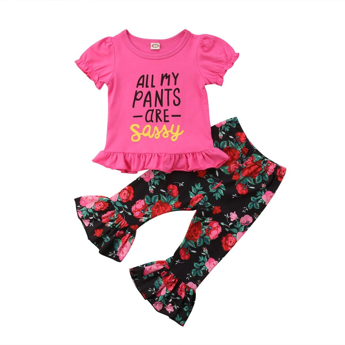 Toddler Kids Baby Girl Sassy Tops T-Shirt Short Pants Outfits Clothes Summer Set