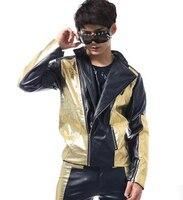 2016 Black gold Men stitching fashion tide models Bar nightclub singer dancer costume male leather jacket suit clothing sets