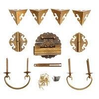 Brass Hardware Set Antique Wooden Box Knobs And Handles Hinges Latch Lock U Shaped Pin Corner