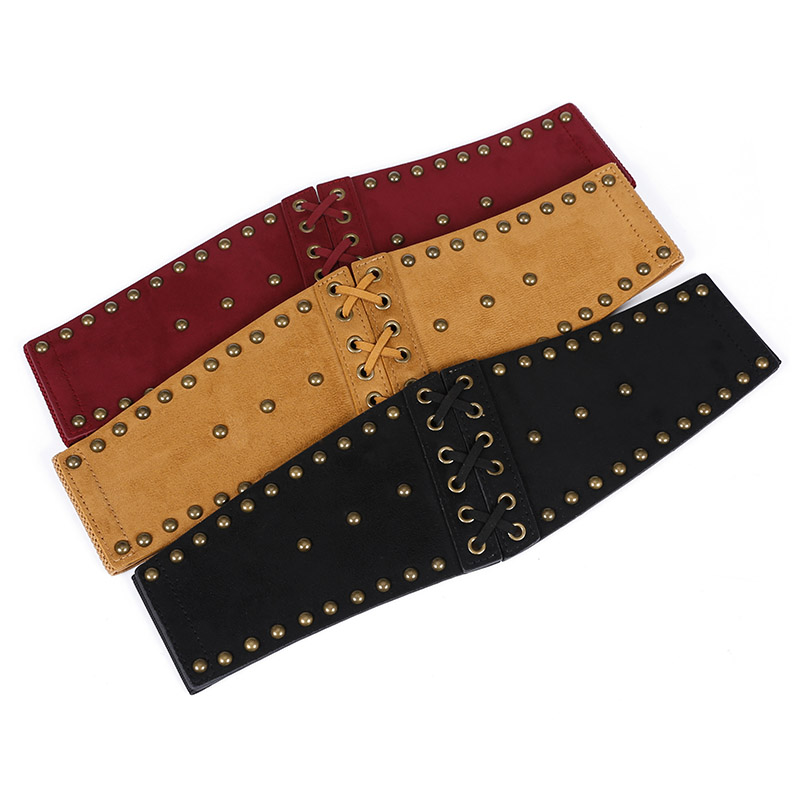 European Punk PU Waist Belt Women Vinage Rivet Super Wide Stretch Elastic Wide Belt Dress Adornment Waistband New