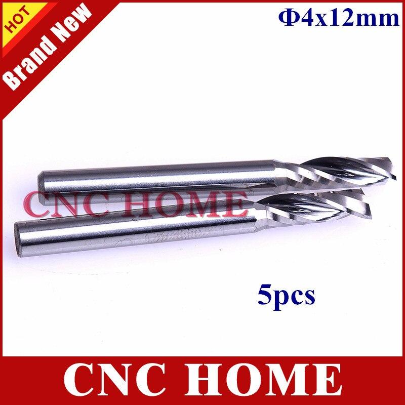 5pcs 4*12mm One Flute Spiral Carbide 4mm endmill, CNC ...