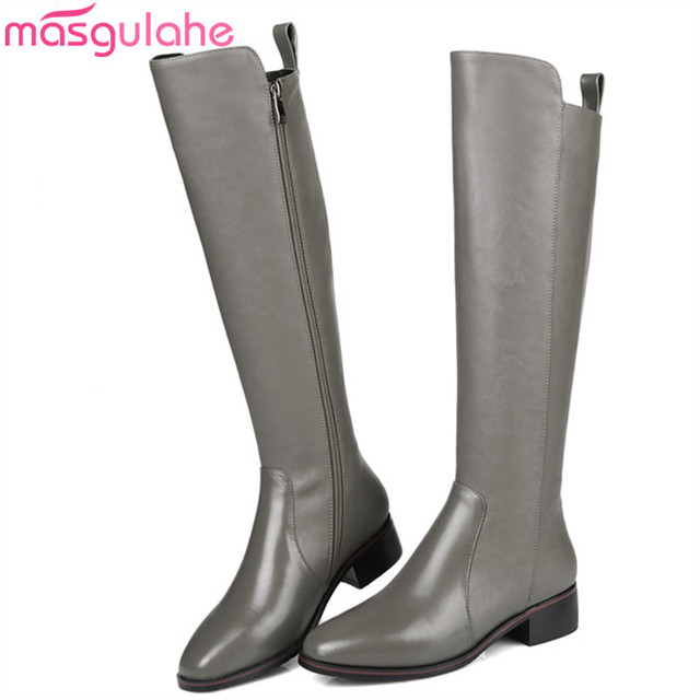 40d44e9c43c Masgulahe autumn winter knee high boots women square toe stretch  fabric+genuine leather boots med heels ladies prom boots black