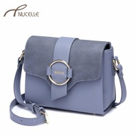 NUCELLE Women S Leather Shoulder Bags Ladies Fashion Scrub Leather Messenger Bags Female Elegant Brief Flap